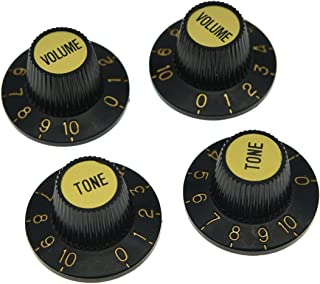 Dopro 4pcs Black with Gold Cap LP Metric Guitar Witch Hat Knobs Top Hat Knobs for SG Epiphone Les Paul