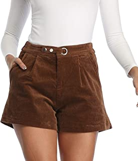 Haadid Women's Elastic Waist Casual PU Leather Shorts with Pockets
