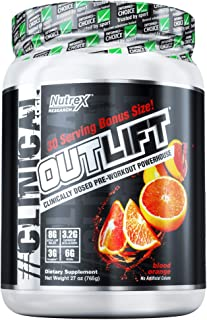 Nutrex Research Oulift Bonus Size | Clinically Dosed Pre-Workout Powerhouse, Citrulline, BCAA, Creatine, Beta-Alanine, Taurine, Banned Substance Free |Blood Orange|30 Servings