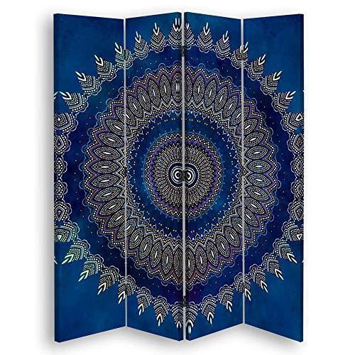 carowall CAROWALL.COM Trennwand Mandala Paravent einseitig abstrakt Blau 145x175 cm