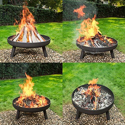 RayGar Large Round Fire Pit Bowl Burner Heater Stove Brazier Metal Outdoor Garden Firepit - 80cm Diameter
