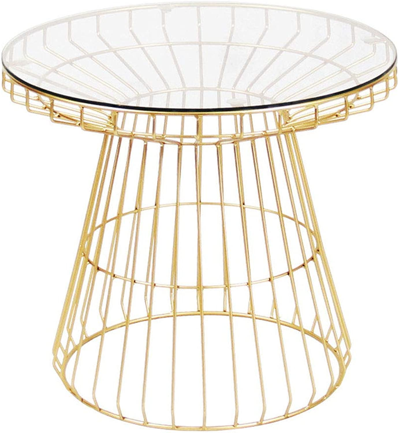 LYN Sofa Side End Table, Northern European Fashion Simple Coffee Table golden Transparent Glass Surface Small Apartment Small Round Table
