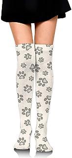 Calcetines para mujer con estampado de huellas de gato sobre la rodilla hasta el muslo para niñas 65 cm