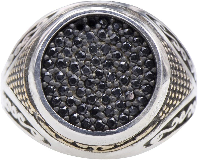 Men's Grand Viking Step Black CZ Melee Statement Ring 925 Silver Size 11