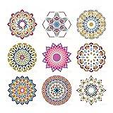 AIUI Mandala Set de 9 plantillas de 30 x 12 pulgadas de tamaño grande reutilizable PET Stencil Mandala Plantilla