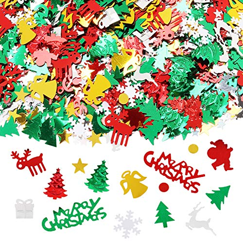 Outgeek Christmas Confetti 6 Pack Party Confetti 100g Christmas Table Confetti for Party Decorations Snowflake, Santa, Pine, Merry Christmas Alphabet Decoration
