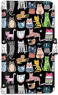 seventwo Android One S8 スマホケース 手帳型 携帯ケース ミラー付 アンドロイド ワン エスエイト 【B.ブラック】 猫柄 子猫 動物 animal_003