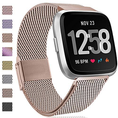 Hamily Kompatibel für Fitbit Versa Armband/Fitbit Versa 2, Metall Ersatzarmbänder mit Starkem Magnetverschluss für Fitbit Versa/Versa 2/Versa Lite/SE Smartwatch, Klein Champagner