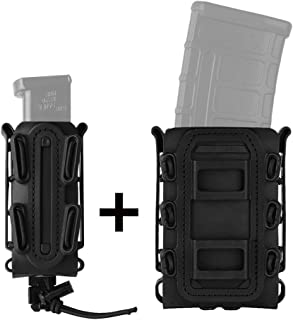 KRYDEX Mag Pouch 5.56mm 7.62mm M4 M16 Magazine Pouch + 9mm .45 Pistol Mag Pouch Tactical Softshell Mag Carrier Pouch Combo