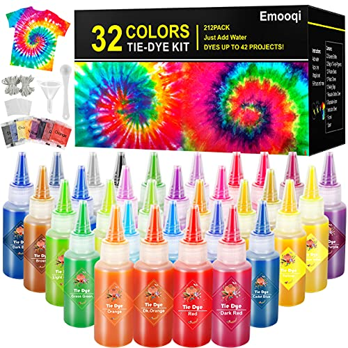 DIY Tie Dye Kits, Emooqi 32 Colours All-in-1 Tie Dye Set Contain 32 Bag Pigments, Rubber Bands, Gloves, Sealed Bag, Apron and Table Covers for Craft Arts Fabric Textile Party DIY Handmade Project