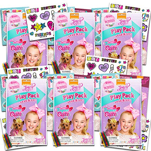 JoJo Siwa Party Favors Pack ~ Bundle of 6 JoJo Siwa Play Packs Filled with Stickers, Coloring Books, Crayons and More (JoJo Siwa Party Supplies)