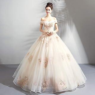 W&TT Las Mujeres Bordadas Flor Champagne Tul Puffy Ball Prom Vestido Novia de Hombro con Cuentas appliquer Vestido 16 quinceañera Vestidos,M