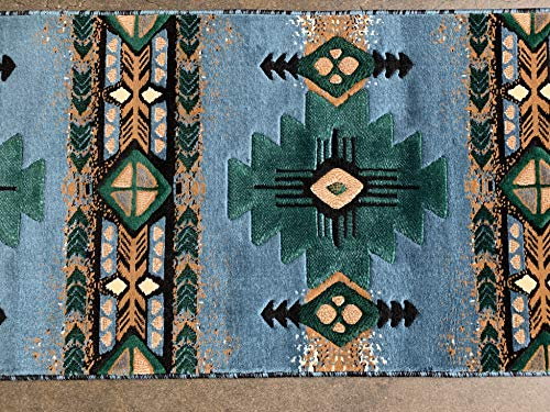 Southwest Native American Long Runner Area Rug Blue & Green Design C318 (2 feet 4 inch x10 feet 11 inch)