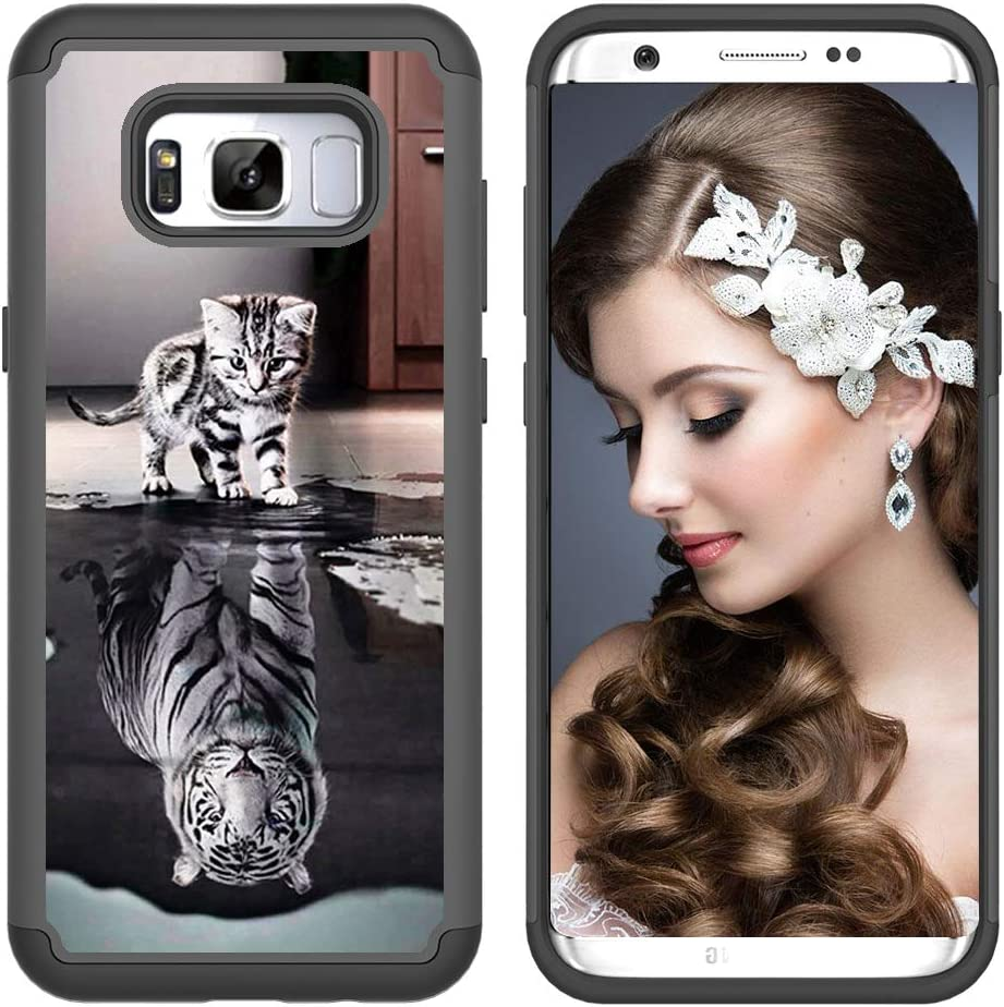 Heavy Duty Case for Samsung Galaxy S8 Plus with Pattern,QFFUN Cute Owl Design Hard Plastic Soft Silicone Hybrid Dual Layer Back Cover Shockproof Protective Case Bumper and Screen Protector