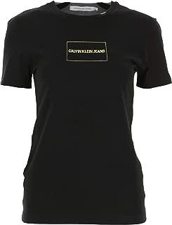 Calvin Klein Jeans Women's INSTITUTIONAL BOX LOGO SLIM TEE T-Shirts, Black (Ck Black/Gold 099), Medium