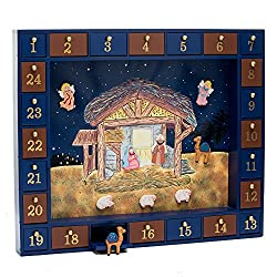 Kurt Adler Wooden Nativity Advent Calendar with 24 Magnetic Figures
