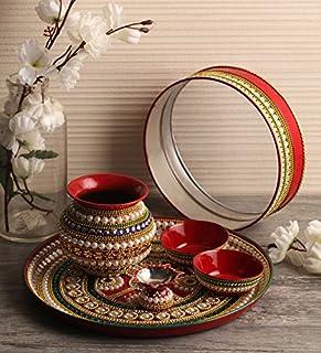 Itiha Pearl & Stones studded Karwachauth / Karvachauth Indian Traditional decorative pooja thali beautiful ethnic gift /Ka...