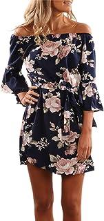 Zehui Vestido de moda con cuello al hombros, Elegante estamp