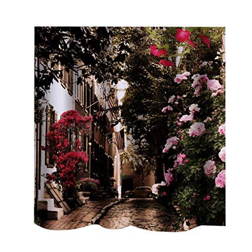 MagiDeal Rideau de Douche Imperméable Antimoisissure Motif Paysage Fantastique pour Baignoire Salle de Bain - Flower Street
