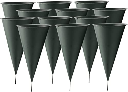lowest Royal Imports Memorial Floral high quality Cones for Cemetery Grave Outdoor Vase or Flower Garden with Metal Ground Spike/Stake, Large, Set high quality of 12 outlet online sale