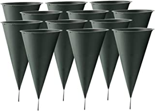 Royal Imports Cemetery Flower Vase Cone for Graveside Memorial with Metal Stake (Large) 10.75 X 4.75 inch - 12 Pk