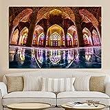 ganlanshu Rahmenlose Malerei Islamische Architektur Kunst und Plakat Moschee Landschaft Leinwand Malerei Religion WanddekorationZGQ7410 30X45cm
