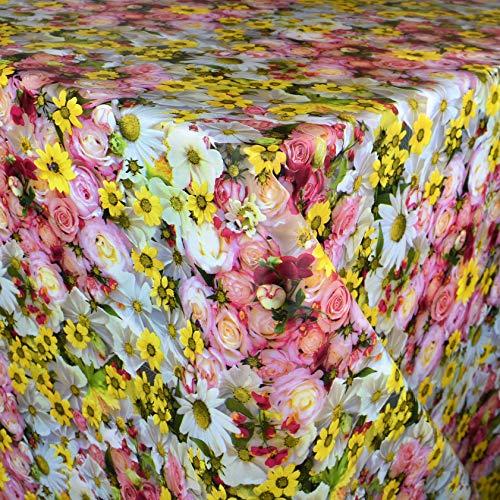 KEVKUS Wachstuch Tischdecke Meterware E190 Rosen Margeriten Blumen Sommer Garten wählbar in eckig rund oval (Rand: Schnittkante (ohne Einfassung), 120 x 130 cm eckig)