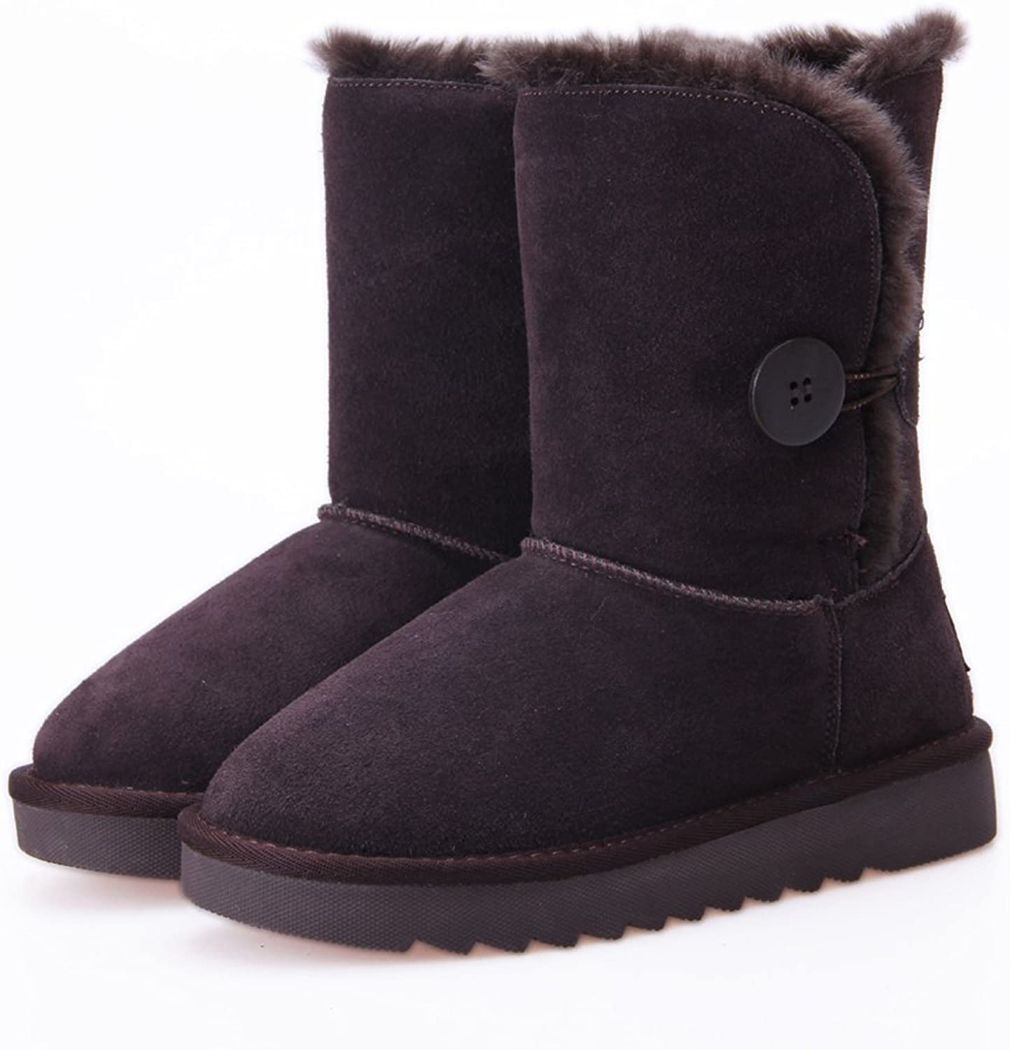 Freewent Women's Mid Calf Faux Shearling Fur Winter Snow Boots