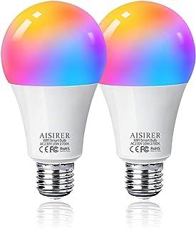 Bombilla LED Inteligente WiFi, AISIRER 10W 1000LM E27 Lámpara, WiFi Bombilla Luces Cálidas/Frías & RGB Funciona con Alexa...