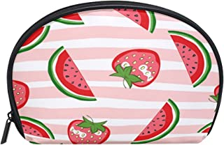 ALAZA Watermelon Striped Half Moon Cosmetic Makeup Toiletry Bag Pouch Travel Handy Purse Organizer Bag for Women Girls