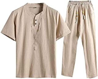 DressUMen Running Short Sleeve Sports Oversize Sweatshirt Pants Set