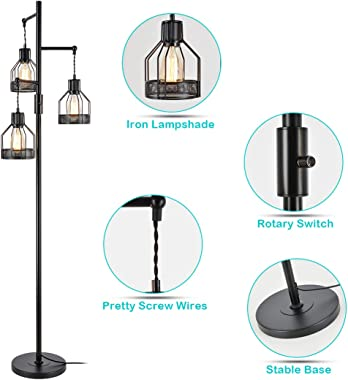 Jobtical 3 Lights Industrial Floor Lamp, Vintage Iron Shade, Rustic Edison Hanging Standing Lamp with On/Off Switch, Farmhous