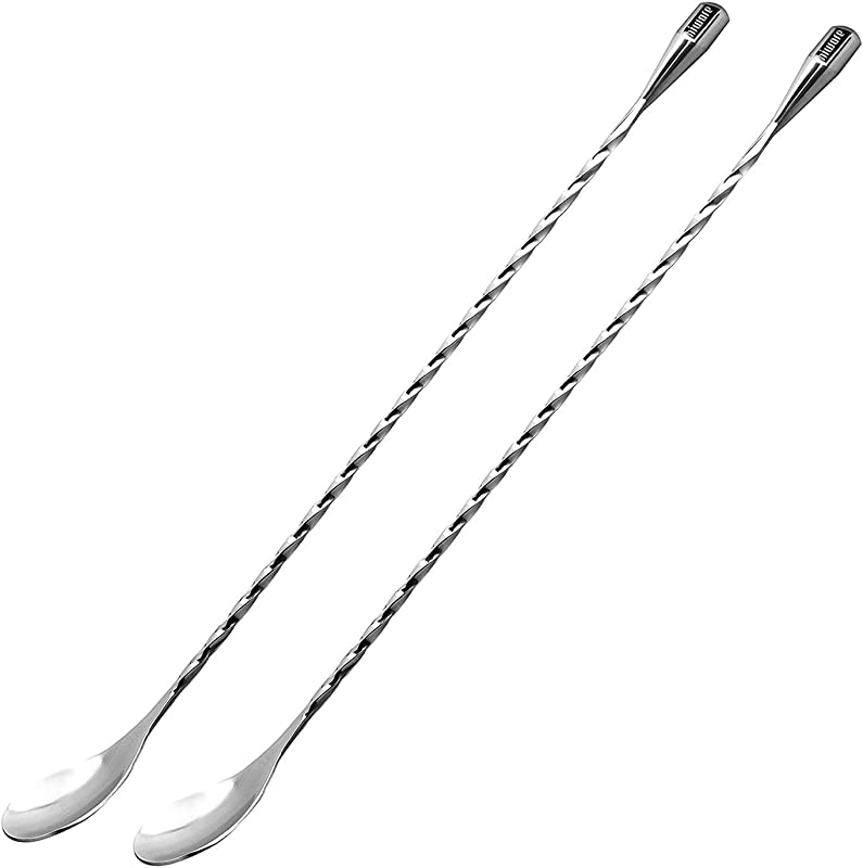 Hiware 2 Pack 12 Inches Stainless Steel Mixing Spoons Spiral Pattern Bar Cocktail Shaker Spoon