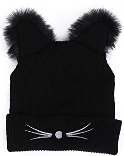 Beauty7 Women Girls Cute Cat Kitty Faux Fur Fuzzy Ear Embroidered Ribbed Knitted Beanie Skull Cap Slouchy Hat Pussycat Cosplay Festival Party Wear Black