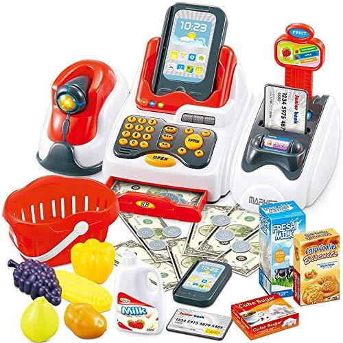 casa de simulación, Juguetes de cajero para niños, Tienda de comestibles con escáner de Pago, Lector de Tarjetas de Frutas, Juguetes y Pasatiempos (como se Muestra)