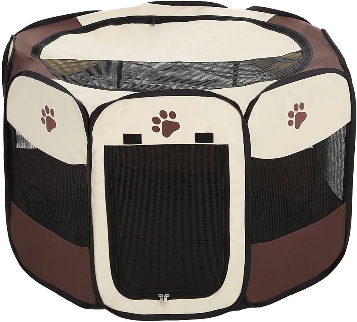 FashionMall Portable Playpen for Dogs & Cats, Foldable Exercise Crate and Kennel for Puppy Kitty and Rabbits, Outdoor pens for Travel and Household Use (S (28  Dia x 18  H), Elegant Brown)