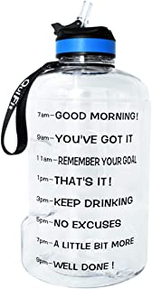 QuiFit Gallon Water Bottle with Straw and Motivational Time Marker Easy Sipping 128/73/43 oz Large BPA Free Reusable Sport Fitness Water Jug with Handle to Drink More Water