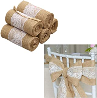 Chris.W 5Pcs Burlap Lace Chair Sashes Hessian Jute Chair Cover Bows Rustic Linen Lace Chair Bows for Wedding Decoration, Party, Birthday, Engagement, Home Decor (6 x 94 inches)