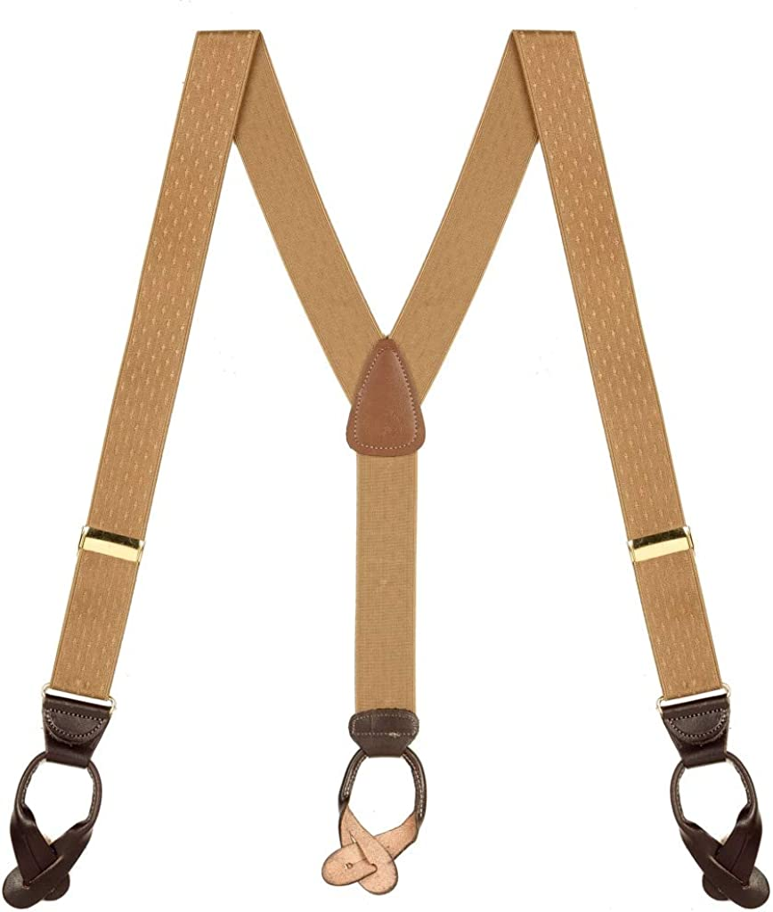 SuspenderStore Men's Jacquard Petite Diamonds Suspenders - BUTTON