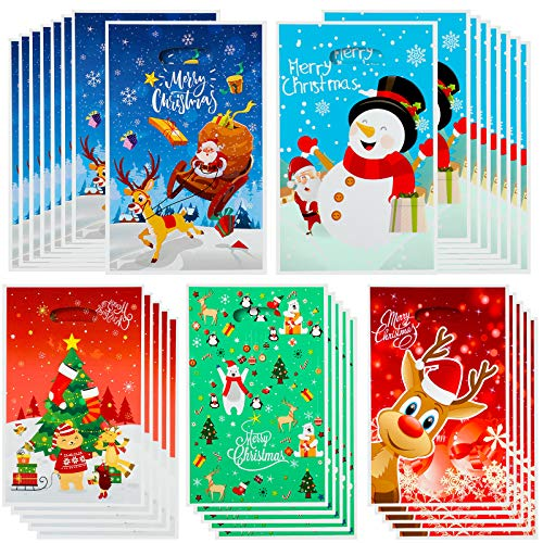 100 Pieces Christmas Plastic Bags Christmas Party Favor Bags Snowman Elk Santa Christmas Tree Treat Bags Candy Bags Goody Bags Christmas Trick or Treat Bag for Christmas Party Favor