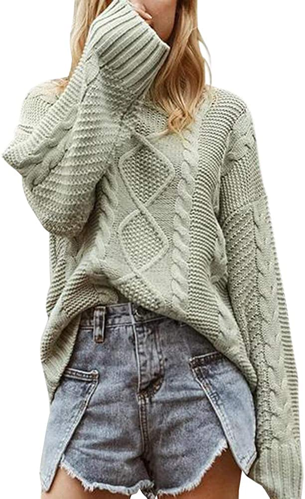 Tutorutor Womens Oversized Batwing Sleeve Crew Neck Chunky Sweaters Casual Cable Knit Long Sleeve Jumper Pullover