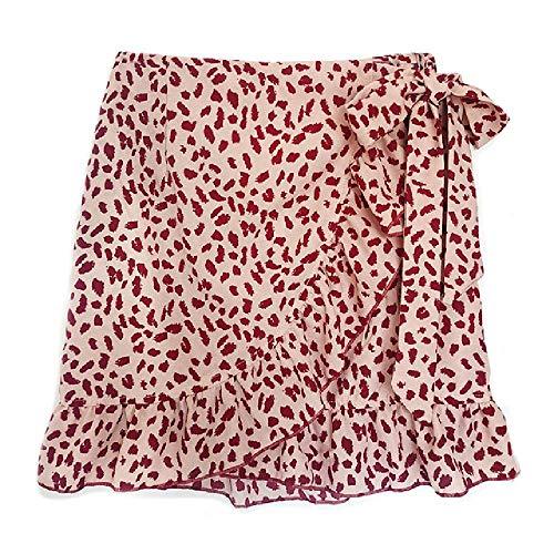 U/A Faldas para mujer de verano casual de cintura alta estampado floral con volantes con cremallera de playa falda corta