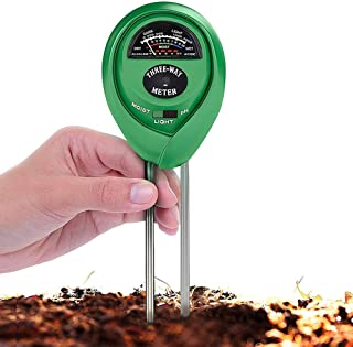 MEGICOT Soil Tester, 3 in 1 Soil Sunlight Moisture pH Meter for Garden Lawn Farm Indoor Outdoor Plant Vegetables Care (No ...