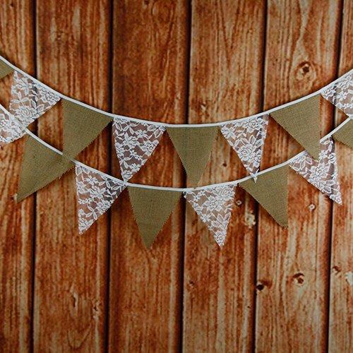 3.3M Schöne Spitze Lace Wimpel Girlande mit 12 Stk Süße Bunting Wimpelkette Farbenfroh Wimpeln für Draußen Hochzeit