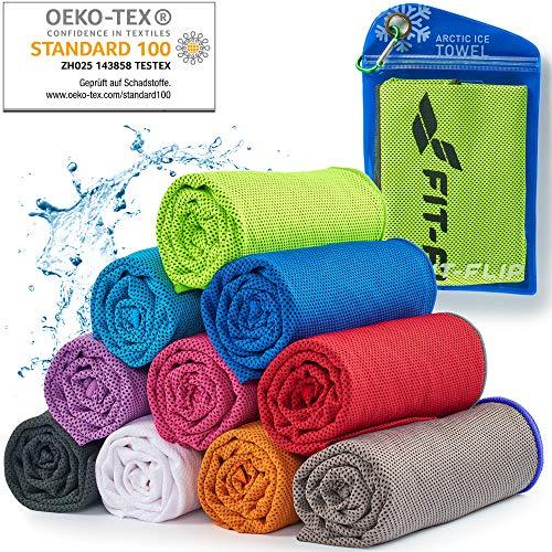 Cooling Towel für Sport & Fitness – Mikrofaser Handtuch/Kühltuch als kühlendes Handtuch für Laufen, Trekking, Reise & Yoga – Cooling Towel – Farbe: neon grün-dunkel Grauer Rand, Größe: 100x30cm