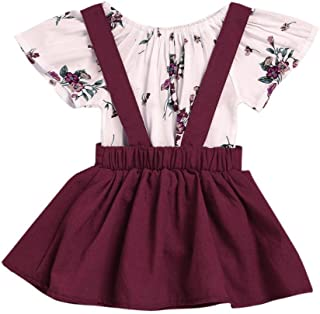 Staron 2pcs Toddler Baby Romper Clothes Set Girl Floral Jumpsuit+Strap Skirt Outfits