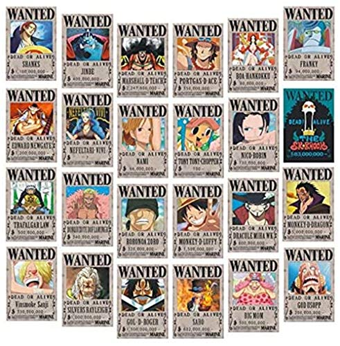 REAL-LISTIC One Piece Wanted Poster 28.5cm×19.5cm, new version, Zorro, Luffy, 1.5 billion, a set of 24