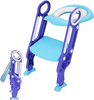 Potty Training Seat Toilet Toddler with Step Adjustable School Ladder Baby Toddler Kids Soft Toilet Seats for Boy and Girl Toilet Training Chair With Stairs Stool Pee, Foldable Storage Save Space