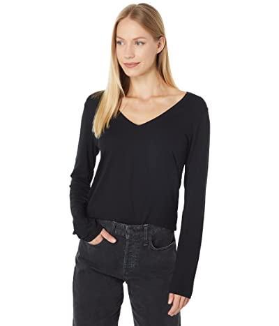 Majestic Filatures Soft Touch Flat Edge Long Sleeve V-Neck Tee
