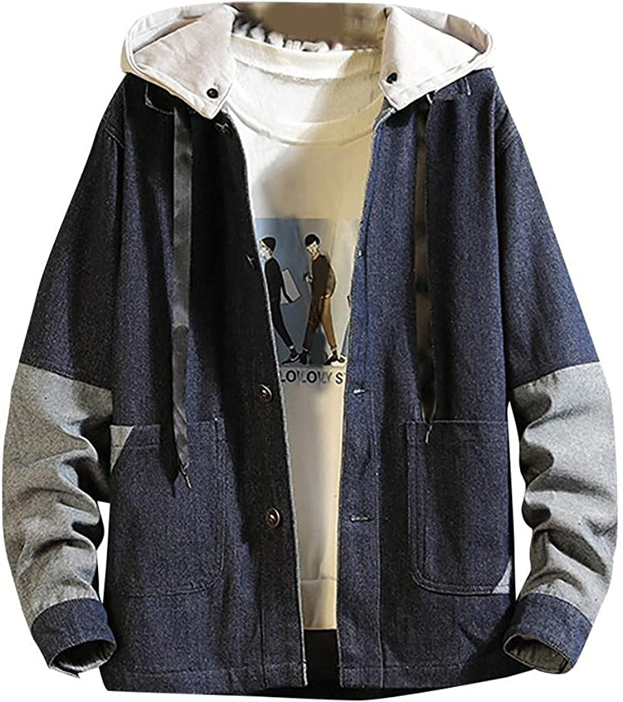 Men's Hooded Denim Jackets Fashion Patchwork Button Down Overcoat Classic Fit Stretch Jeans Outwears Tops with Pockets